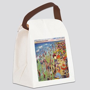 Vintage People on Beach Postcard  Canvas Lunch Bag
