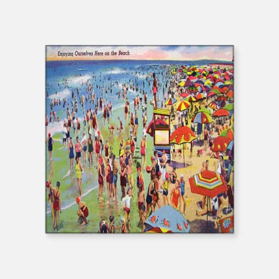 "Vintage People on Beach Pos Square Sticker 3"" x 3"""