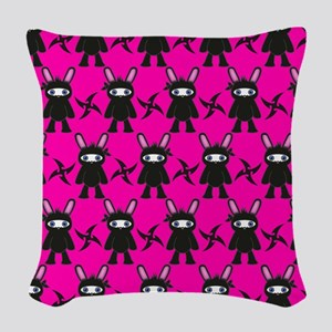 Pink Black Ninja Bunny Woven Throw Pillow