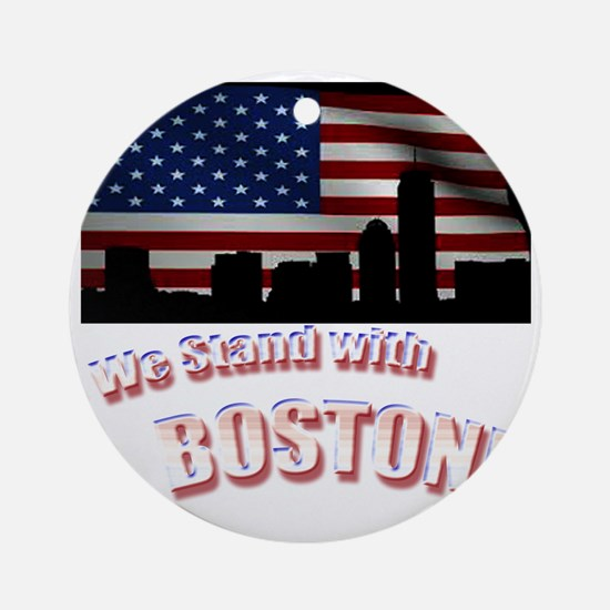We stand with Boston Round Ornament