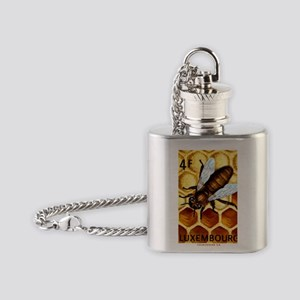 Vintage 1973 Luxembourg Bee Postage Flask Necklace