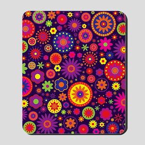 Hippie Purple Rainbow Flowers Mousepad