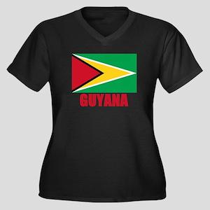 Guyana Flag Women's Plus Size V-Neck Dark T-Shirt