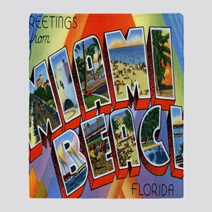 Vintage Miami Beach Postcard Throw Blanket