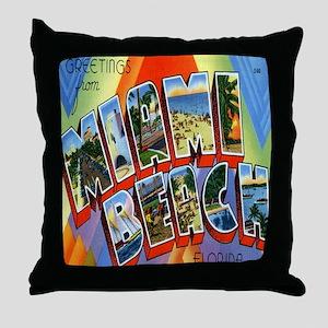 Vintage Miami Beach Postcard Throw Pillow