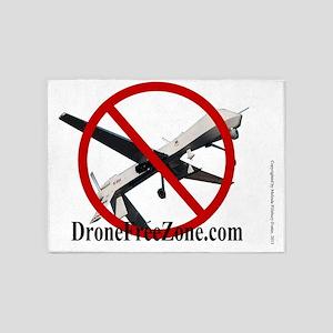 NO DRONE LOGO WHITE 5'x7'Area Rug