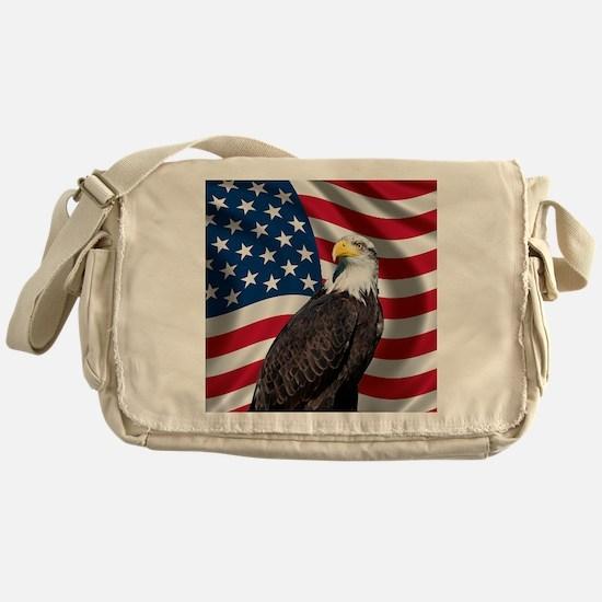 USA flag with bald eagle Messenger Bag