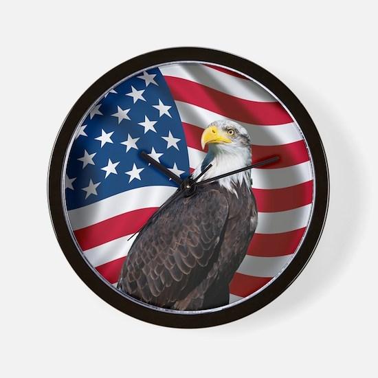 USA flag with bald eagle Wall Clock