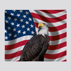 USA flag with bald eagle Throw Blanket
