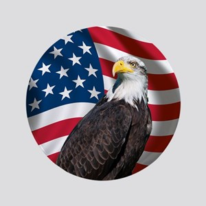 "USA flag with bald eagle 3.5"" Button"