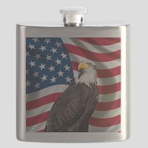 USA flag with bald eagle Flask