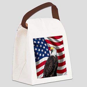 USA flag with bald eagle Canvas Lunch Bag