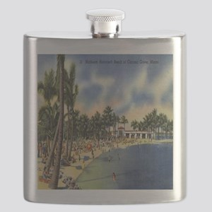 Vintage Coconut Beach Florida Postcard Flask