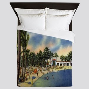 Vintage Coconut Beach Florida Postcard Queen Duvet