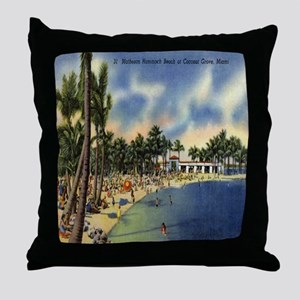 Vintage Coconut Beach Florida Postcar Throw Pillow