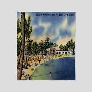 Vintage Coconut Beach Florida Postca Throw Blanket