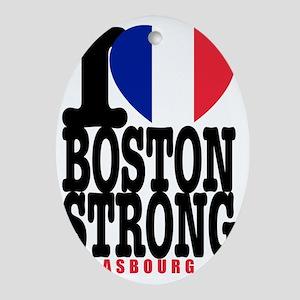 I Heart Boston Strong Strasbourg Oval Ornament