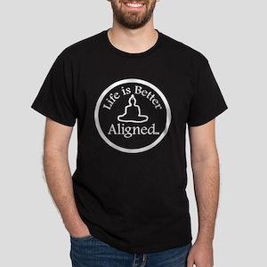 Life is Better Aligned logo in white Dark T-Shirt