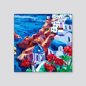 "Greek Oil Painting Square Sticker 3"" x 3"""