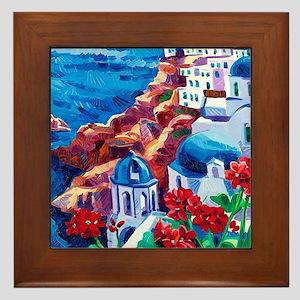 Greek Oil Painting Framed Tile