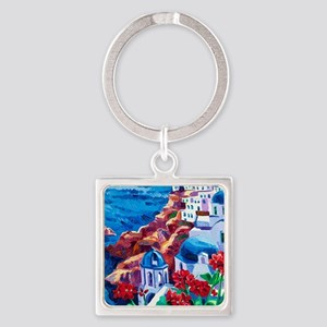 Greek Oil Painting Square Keychain