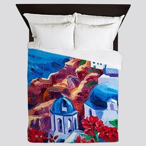 Greek Oil Painting Queen Duvet