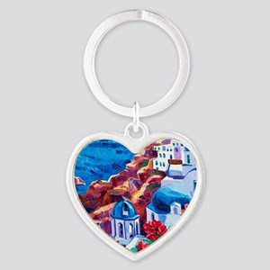 Greek Oil Painting Heart Keychain