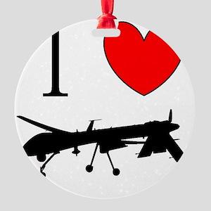 I Love Drones Round Ornament