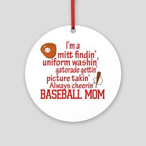 Baseball Mom Round Ornament