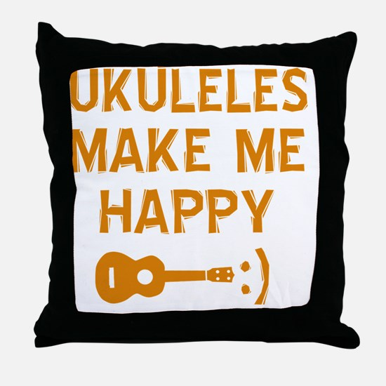 My Ukukele makes me happy Throw Pillow