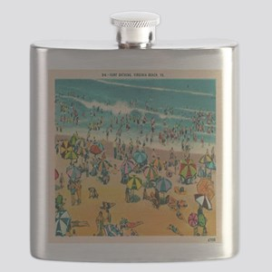 Vintage Virginia Beach Postcard Flask