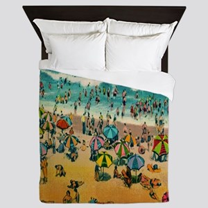Vintage Virginia Beach Postcard Queen Duvet