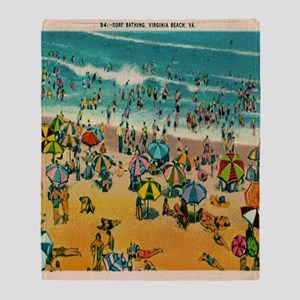 Vintage Virginia Beach Postcard Throw Blanket