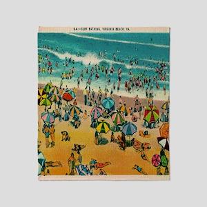 Vintage Virginia Beach Postcard Throw Blanket