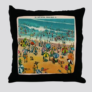 Vintage Virginia Beach Postcard Throw Pillow