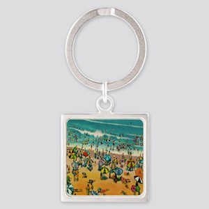 Vintage Virginia Beach Postcard Square Keychain