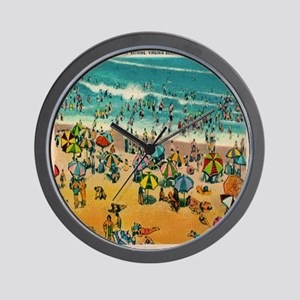 Vintage Virginia Beach Postcard Wall Clock