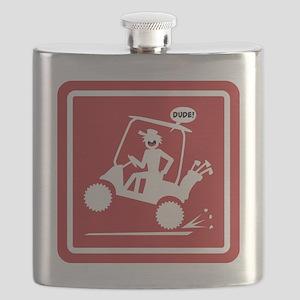 Golf Cart Wheelie Warning Signs Flask