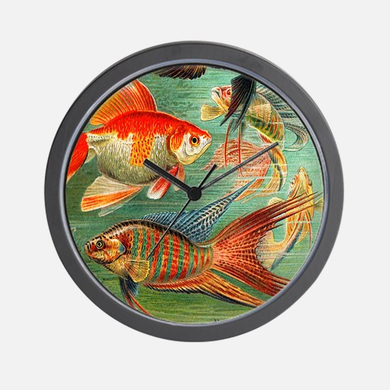 Vintage Colorful Tropical Fish Wall Clock