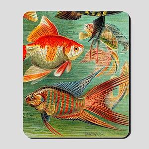 Vintage Colorful Tropical Fish Mousepad