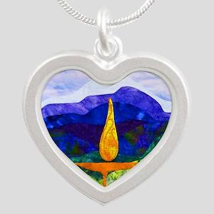 Mountains Chalice Cir Silver Heart Necklace