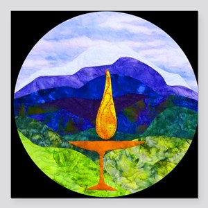 "Mountains Chalice Cir Square Car Magnet 3"" x 3"""