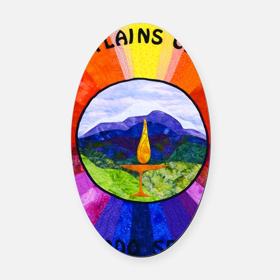 HPCUU Mountains Quilt Oval Car Magnet
