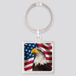 USA flag with bald eagle Square Keychain