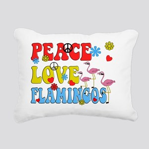 PEACE LOVE FLAMINGOS Rectangular Canvas Pillow
