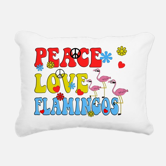 PEACE LOVE FLAMINGOS Rectangular Canvas Pillow