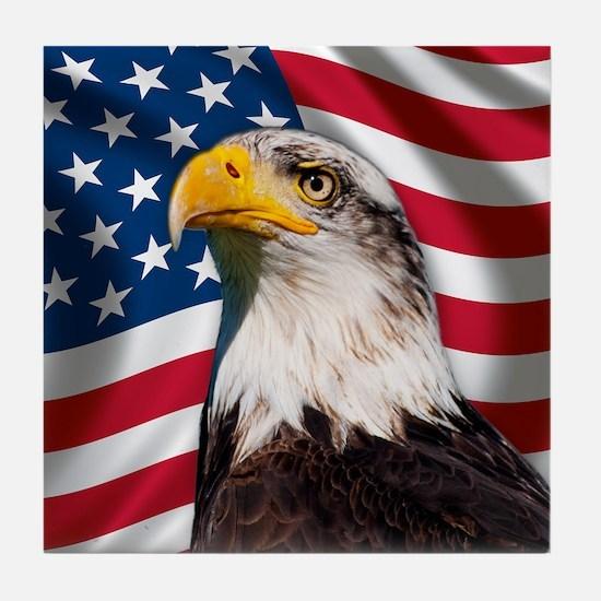 USA flag with bald eagle Tile Coaster