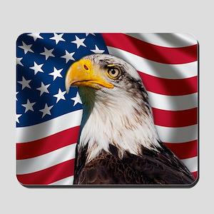USA flag with bald eagle Mousepad