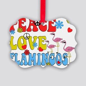 PEACE LOVE FLAMINGOS Picture Ornament