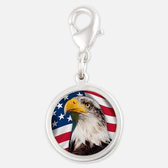 USA flag with bald eagle Silver Round Charm